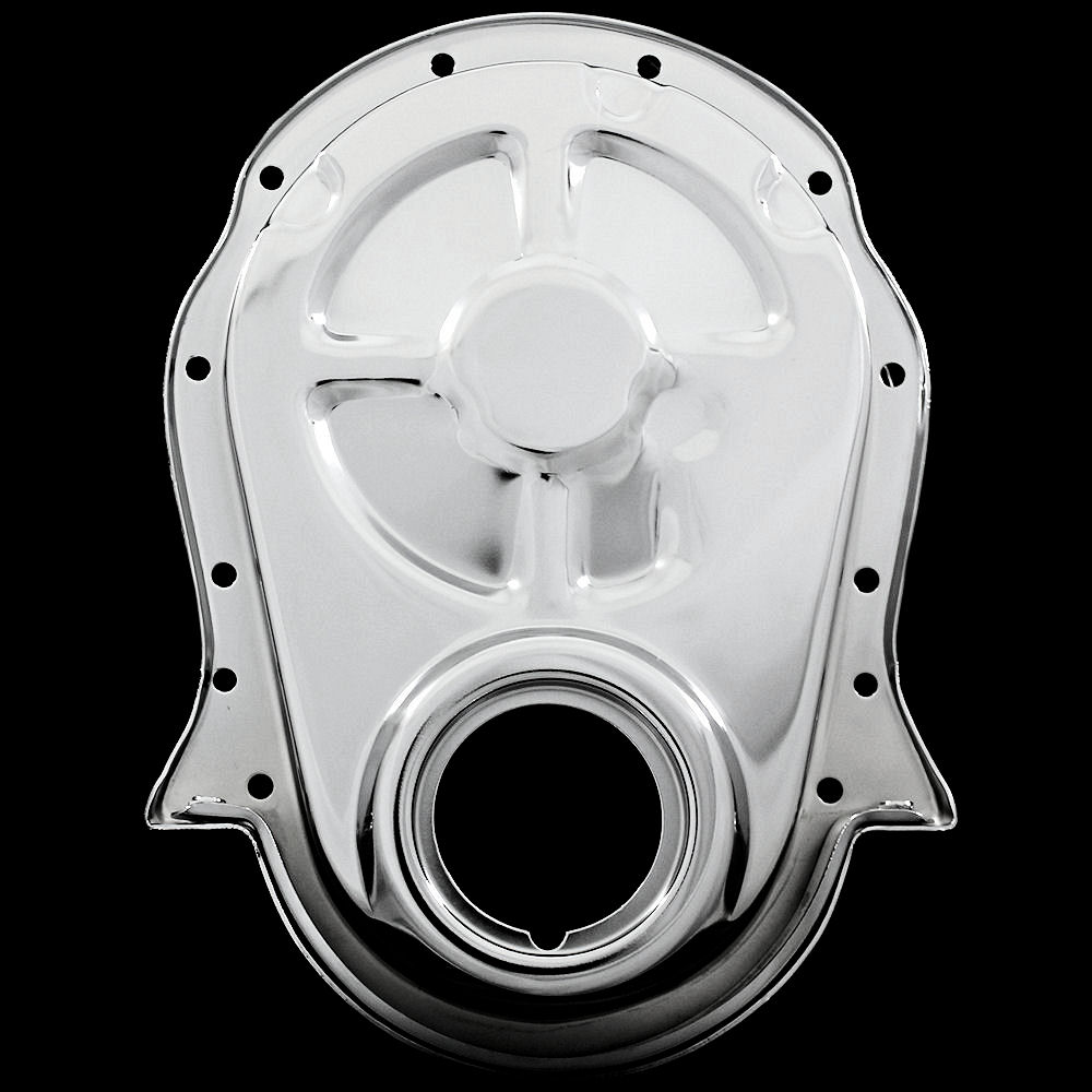 Chevrolet Performance 12562818 Timing Chain Cover: MCC317 Chrome Big Block Chevy Timing Chain Cover 396 427 454