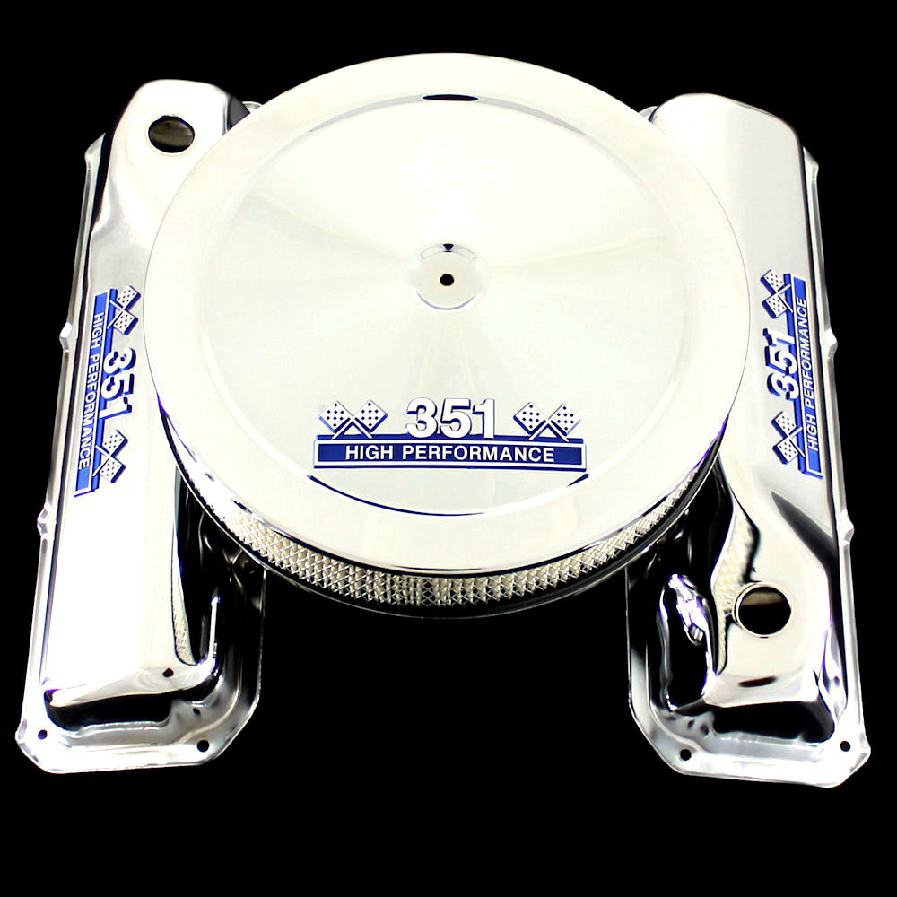 chrome valve covers and air cleaner with 351 emblems for