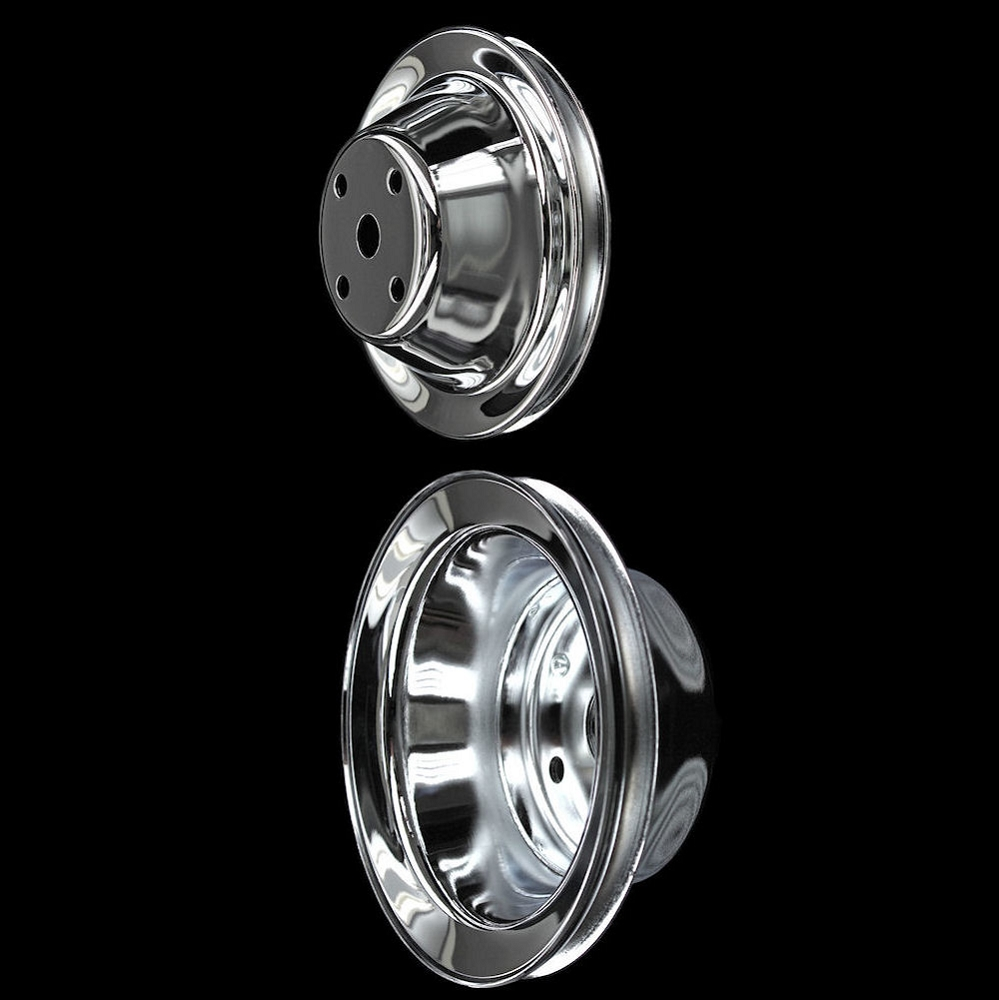 Chrome Small Block Chevy 2 Pulley Set Single Groove Long