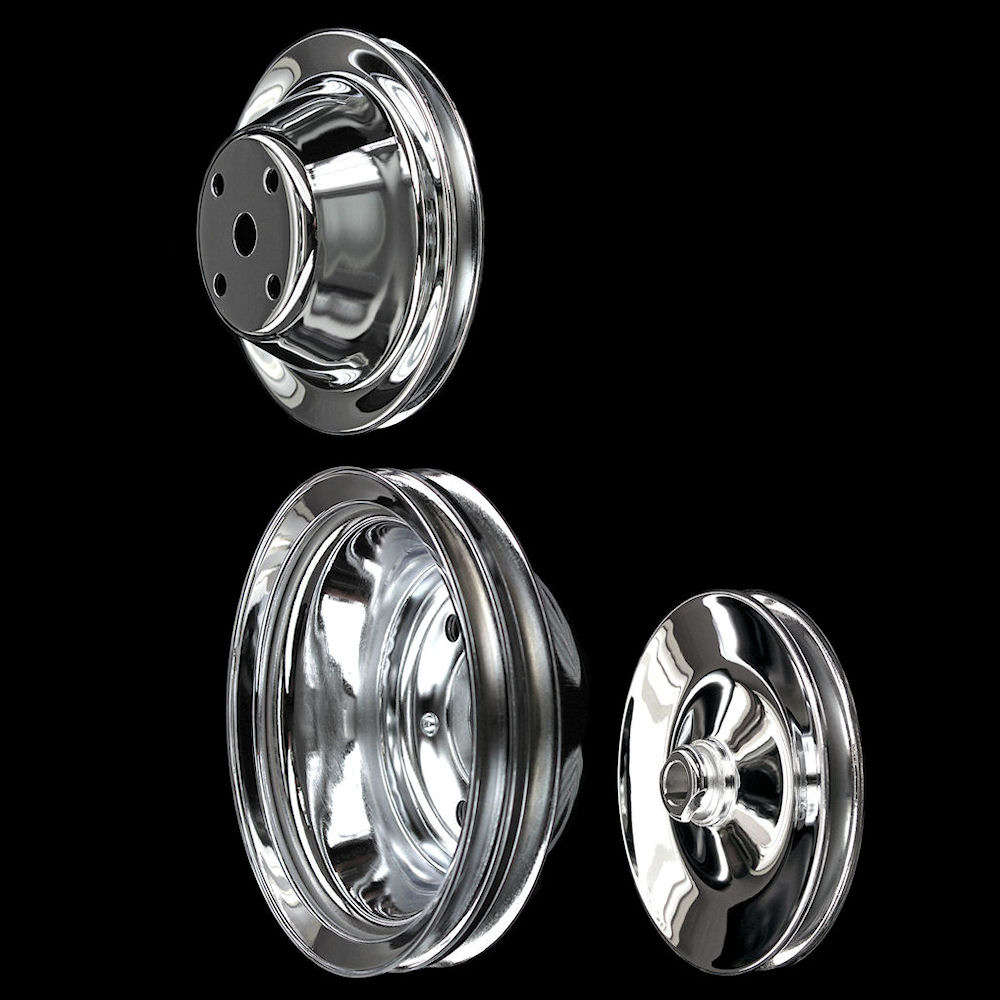 Chrome Small Block Chevy Pulleys Set 3 Pulleys Alt And Ps