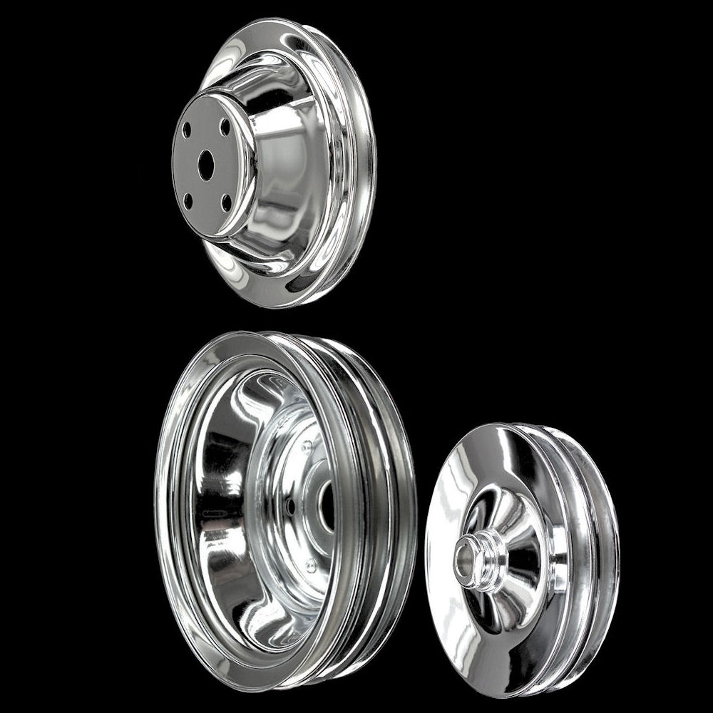 Chrome Small Block Chevy Pulleys Set 3 Pulleys 283 327 350