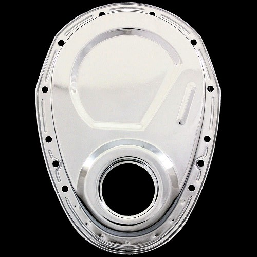Chevrolet Performance 12562818 Timing Chain Cover: MCC315 Chrome Small Block Chevy Timing Chain Cover 283 327
