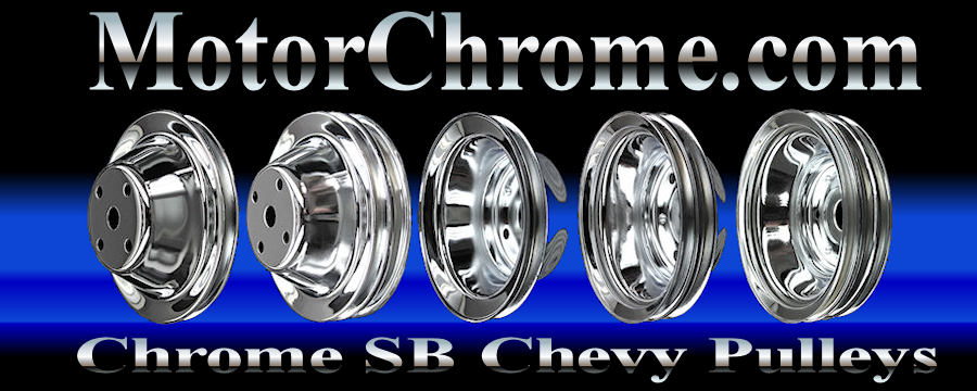 chrome small block chevy pulleys long water pump