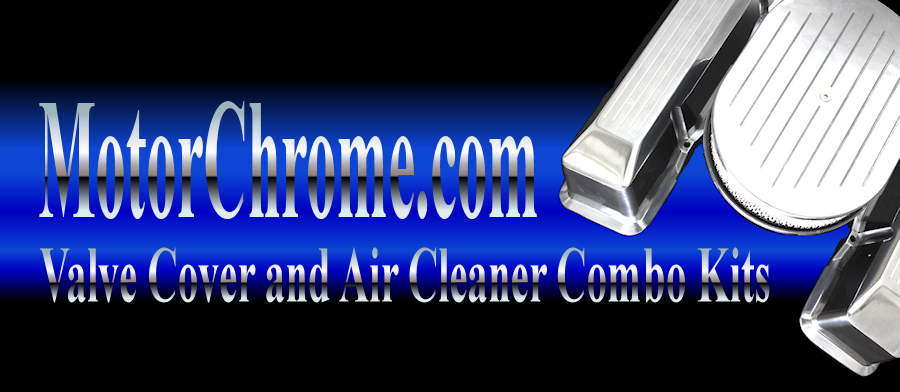 chrome and aluminum small block chevy valve cover and air cleaner sets