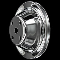 SB Chevy long water pump chrome pulleys
