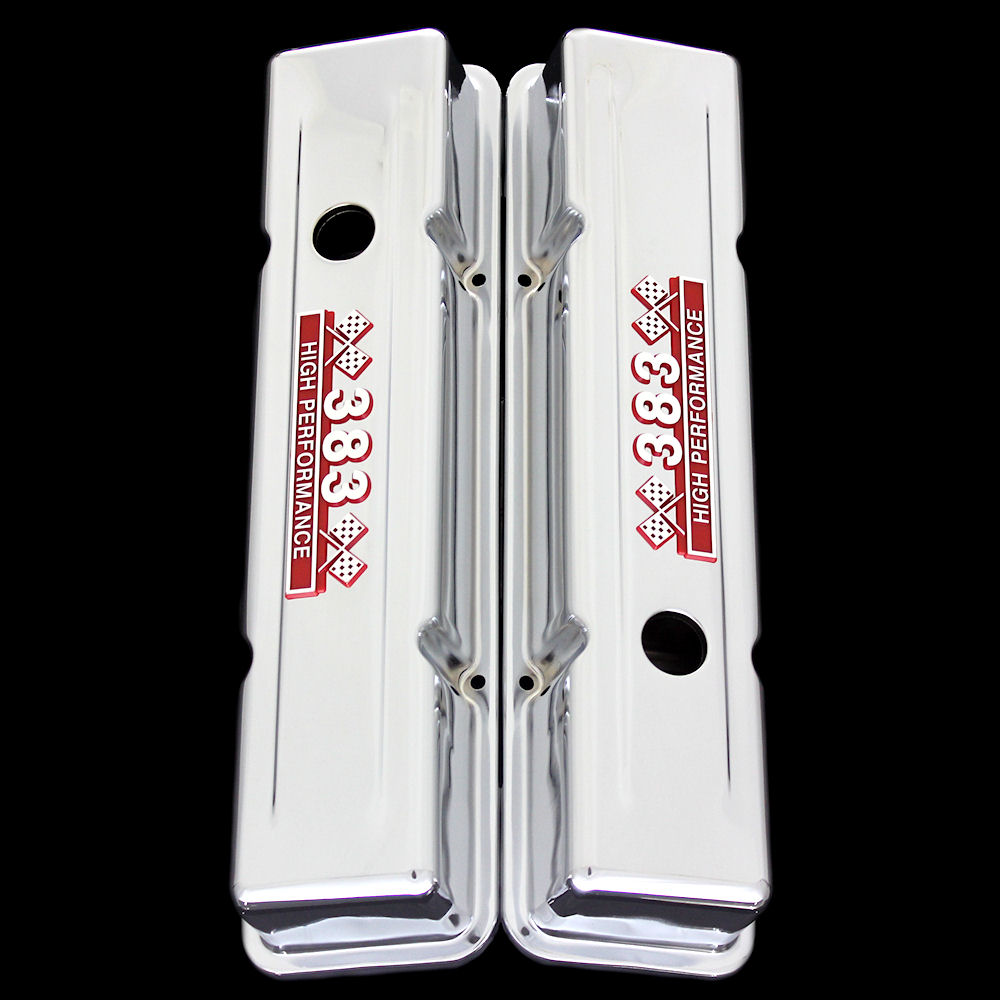 Chrome small block valve covers red emblems for Chevy 383 stroker
