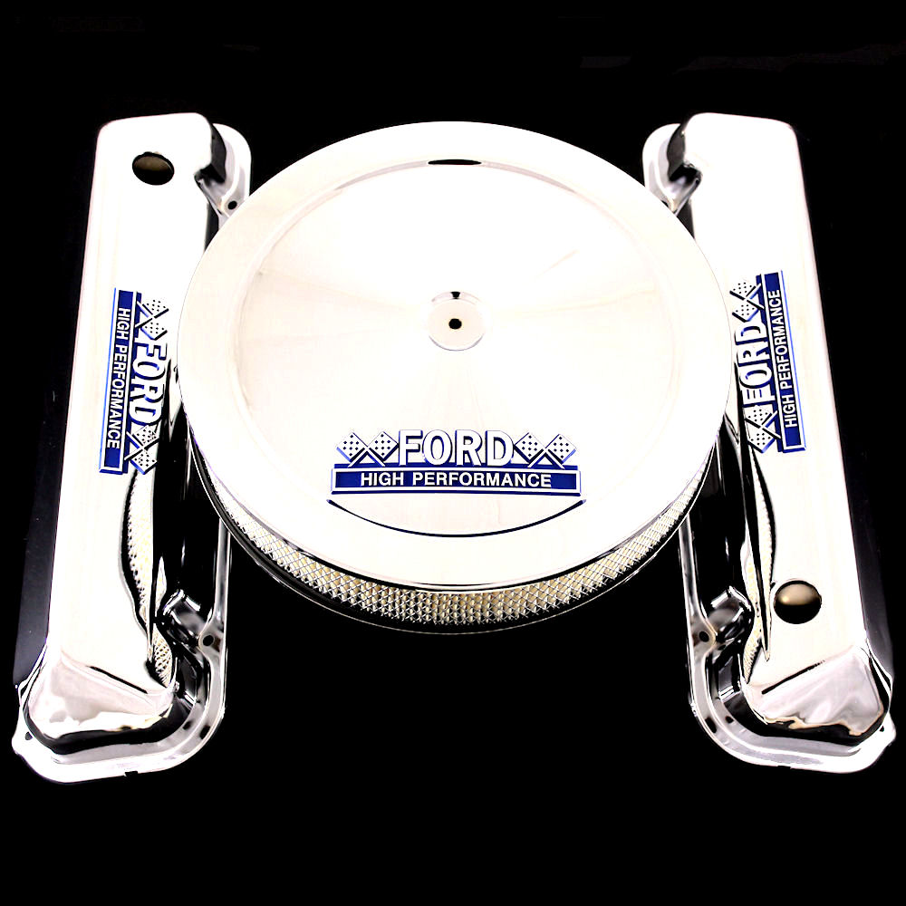 Chrome valve covers and air cleaner for 429 460 with Ford emblems
