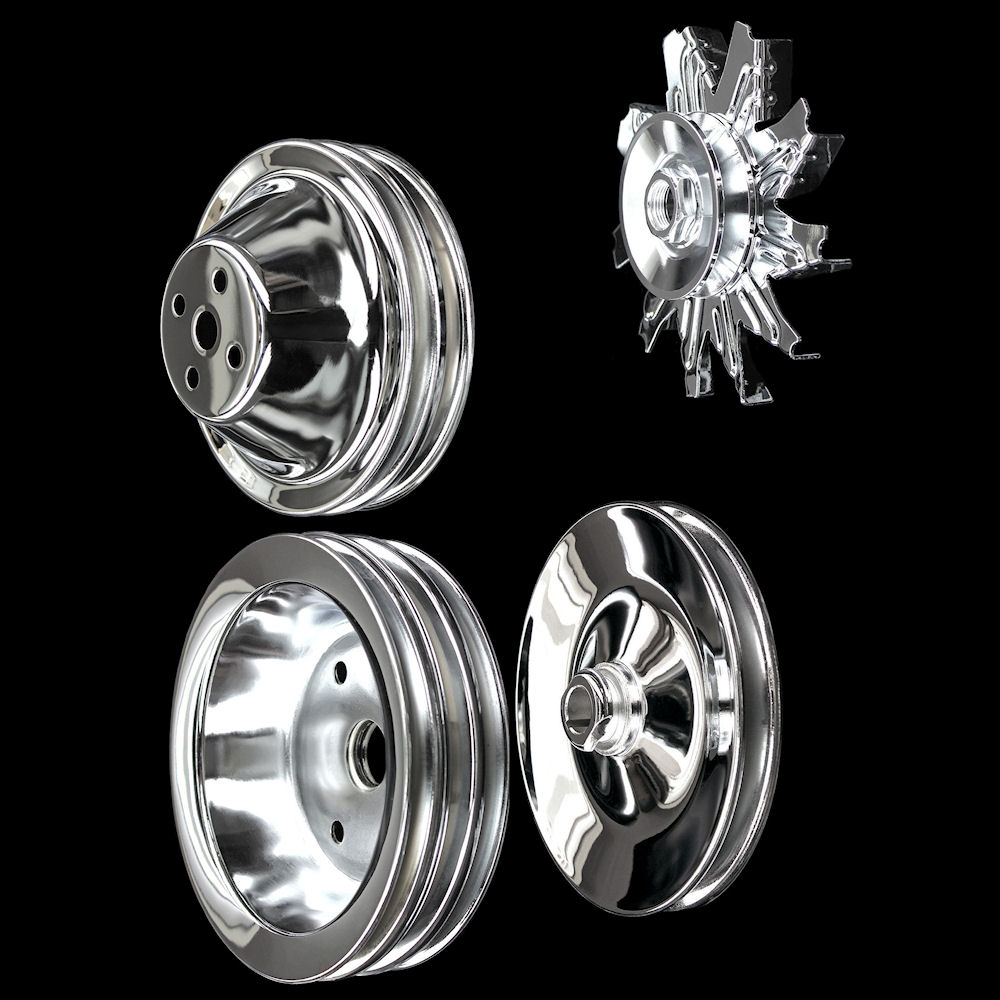 Chrome Steel 1 Groove Pulley Kit Fits Chevy SB Short Water Pump 283 327 350 V8