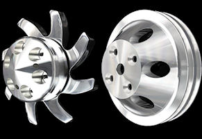 SB Chevy long water pump billet pulleys