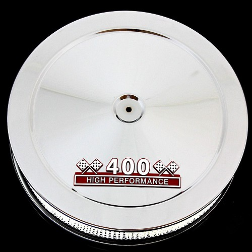 MCC61R-3P chrome pontiac 400 emblem air cleaner red