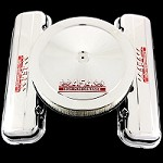 MCC10595S chrome big block 454 emblem valve cover and 454 emblem air cleaner combo factory height