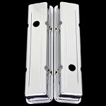 MCC107s Chrome small block valve covers stock height for Chevy 327 350 383 400 short