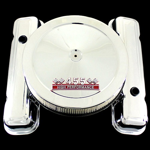 MCC165110S chrome pontiac valve cover and 455 emblem air cleaner factory height combo