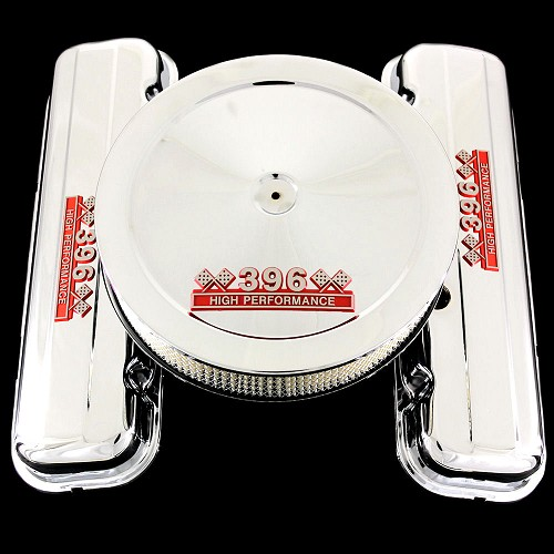 MCC16667S chrome big block chevy 396 emblem valve cover and 396 emblem air cleaner combo factory height