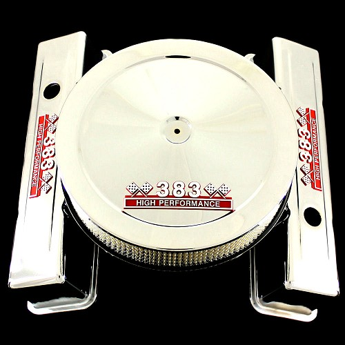 MCC167160T chrome small block chevy 383 emblem tall valve cover and 383 emblem air cleaner combo