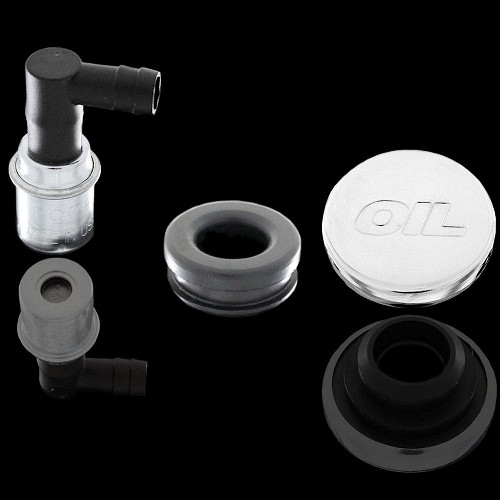 MCC212714 chrome oil embossed oil cap and pcv valve with grommet