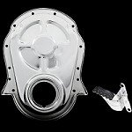 MCC317322 chrome big block chevy timing cover and tab 396 427 454