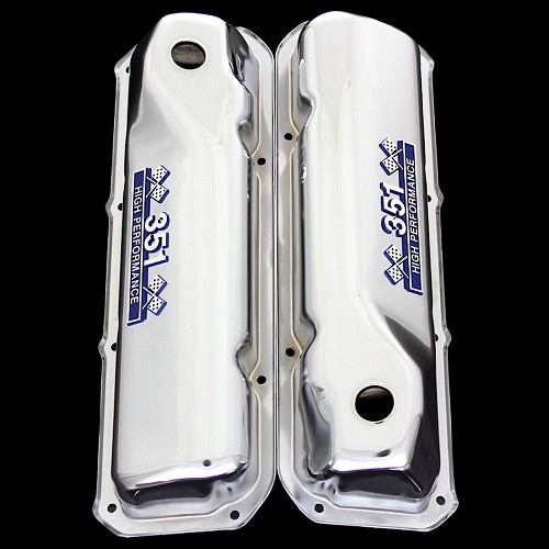 MCC44 Chrome 351 Cleveland valve covers with 351 emblems Fits Ford 351 C