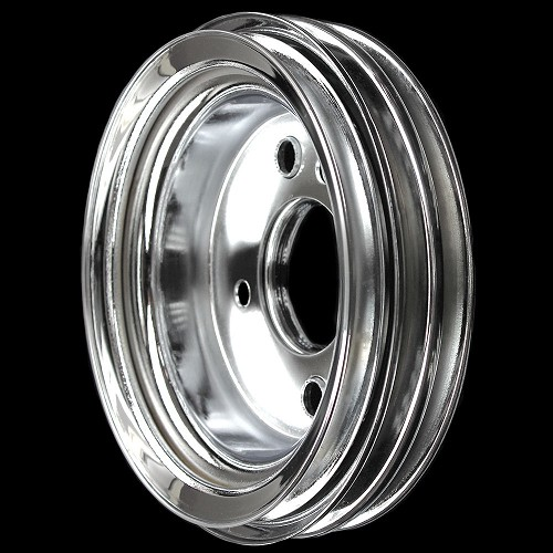 MCC547 Chrome big block chevy 3 groove crankshaft pulley for short water pump