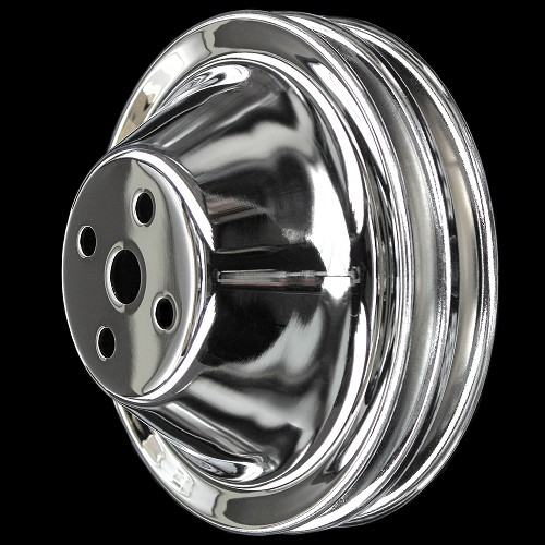 MCC601 Chrome small block chevy 2 groove short water pump upper pulley