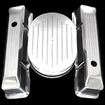 MCC60206035 polished aluminum small block chevy tall bevel edge valve cover and air cleaner ball milled combo