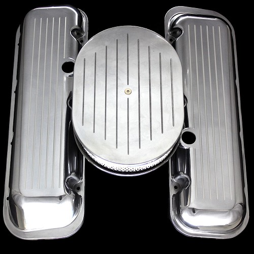 Polished aluminum BB Chevy valve covers and air cleaner ball milled