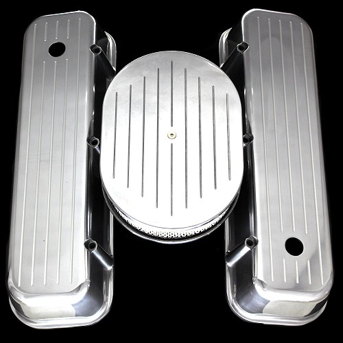 MCC60206230 polished aluminum big block chevy tall valve covers and air cleaner ball milled 396 427 454 502