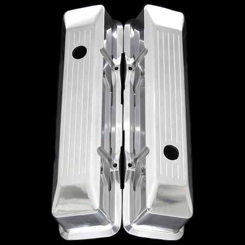 MCC6035 Polished aluminum small block Chevy valve covers ballmilled beveled edge Tall