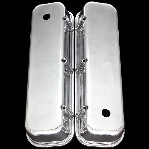 MCC6330 polished aluminum big block chevy valve covers tall smooth top 396 427 454 502