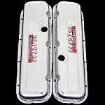 MCC65S chrome big block chevy 427 valve covers with 427 emblems chevrolet factory height