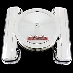 MCC663108S chrome big block chevy valve cover and 427 emblem air cleaner combo factory height