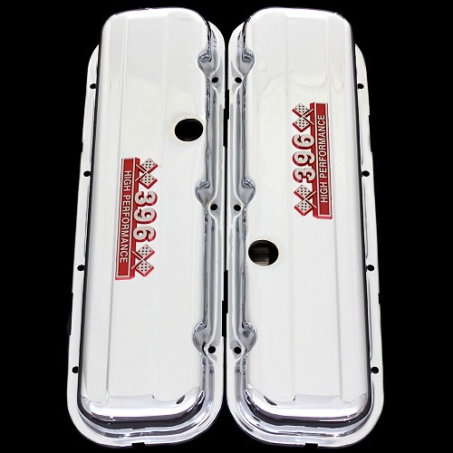 MCC67S chrome big block chevy 396 valve covers with 396 emblems chevrolet factory height
