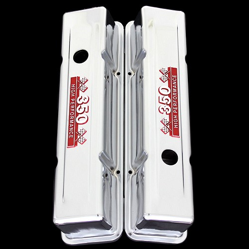 MCC69TR Chevy valve covers tall 350 red emblems 1967 - 1985