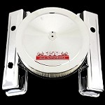 Chrome SB Chevy 3 hole valve covers and 350 red emblem air cleaner