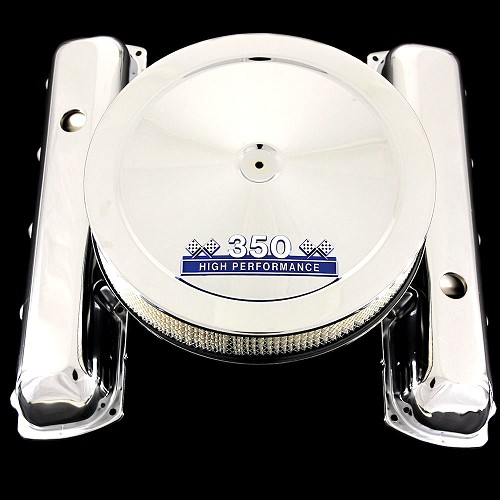 MCC71B3122 chrome oldsmobile valve covers and 350 emblem air cleaner combo blue olds