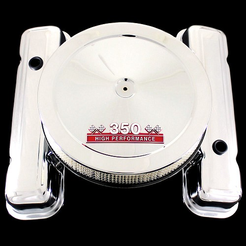 MCC71R110S chrome pontiac valve cover and 350 emblem air cleaner factory height red