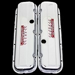 MCC95S chrome big block chevy 454 valve covers with 454 emblems chevrolet factory height