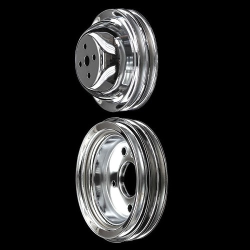 MCC545547 Chrome big block Chevy pulley kit 2 pulleys for short water pump 396 427 454