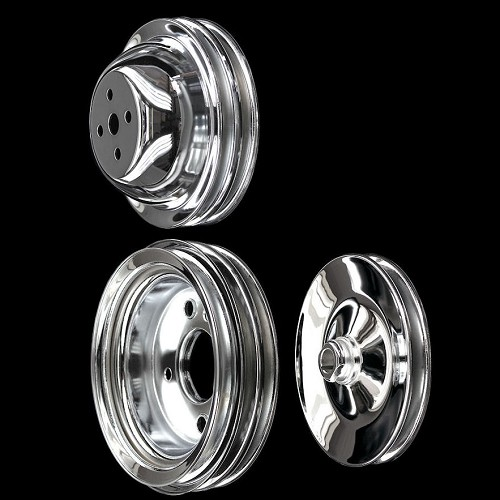MCC545547923 Chrome big block Chevy pulley pulley kit 3 pulleys set short water pump 396 427 454 ac and ps