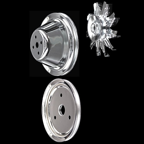 MCC561600602 Chrome small block Chevy pulley kit 3 pulley set short water pump 283 327 350
