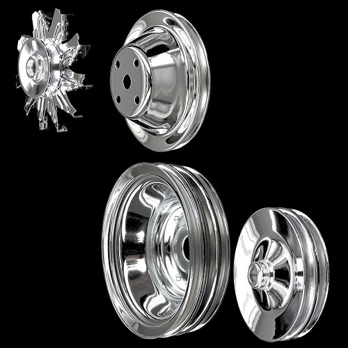 Chrome Small Block Chevy Pulleys Set 4 Pulleys 350 383 400