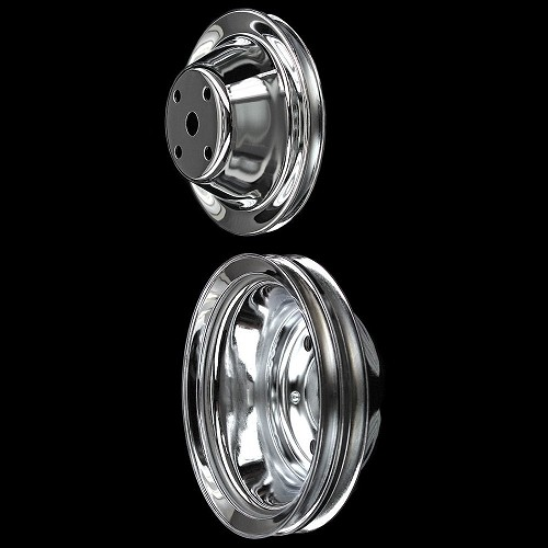 MCC604607 Chrome small block Chevy 2 pulley set long water pump for alt and ps