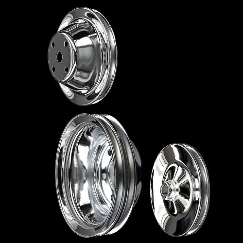 MCC604607923 Chrome small block Chevy pulley set 3 pulleys long water pump keyway p/s