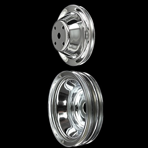 MCC604608 Chrome small block Chevy 2 pulley set long water pump for alt ac and double groove ps