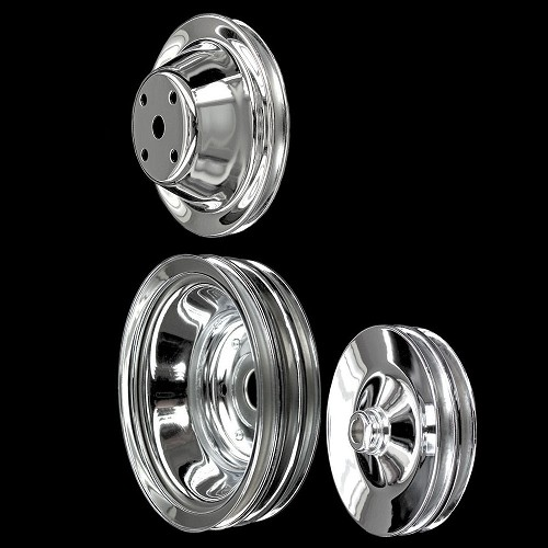 MCC604608924 Chrome small block Chevy pulley set 3 pulleys long water pump alt a/c keyway p/s