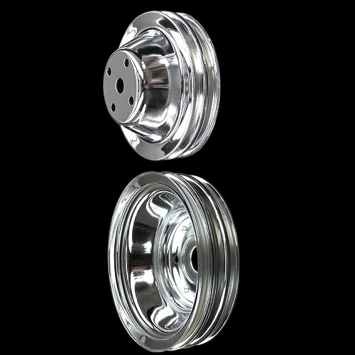 MCC605608 Chrome small block Chevy 2 pulley set long water pump for alt ac and ps