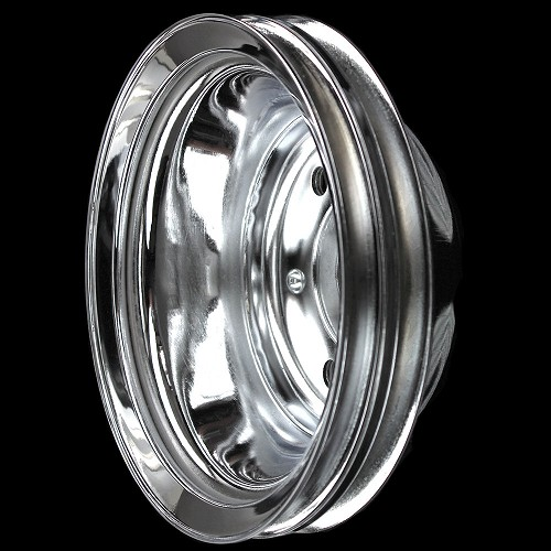 MCC607 Chrome small block chevy 2 groove crankshaft pulley for long water pump