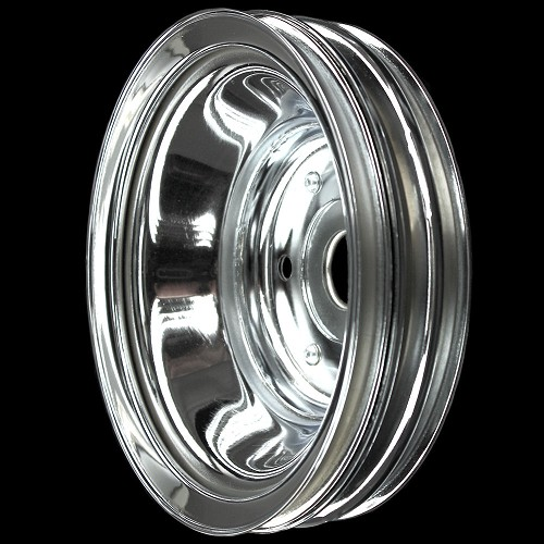 MCC608 Chrome small block chevy 3 groove crankshaft pulley for long water pump
