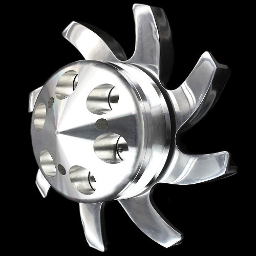 MCC907913 Polished aluminum alternator fan and pulley set big and small block chevy