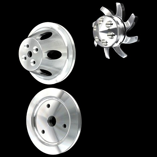 MCC907913903905 Billet small block chevy kit 1 groove short water pump 3 pulley Set